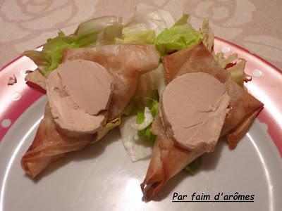 Samoussa Poire épicée au vin et Foie gras