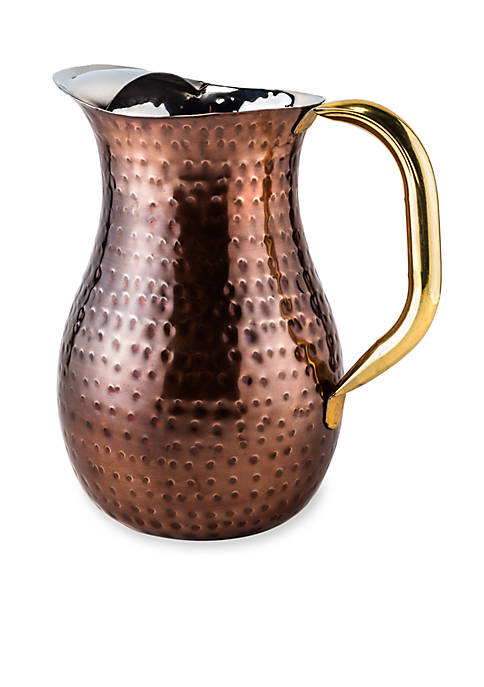 Decor Antique Copper Hammered Red Water Pitcher
