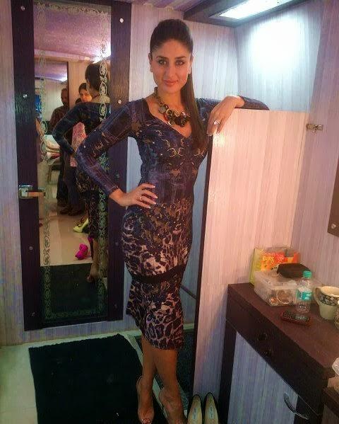 Kareena Kapoor in skin colour gown looks hot inside vanity van
