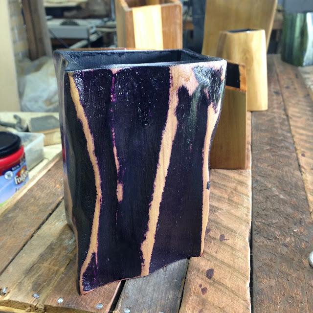 Wood Vase, Grinder Vase, haddad vase