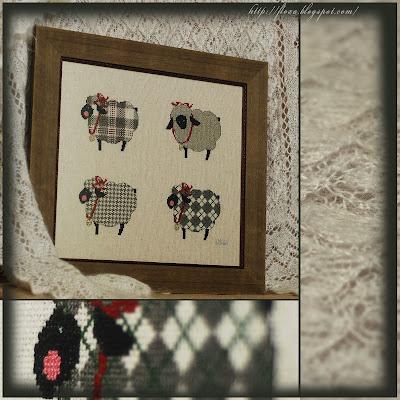 """Woolen sheep's"" от Cricket Collection, вышивка овечки, вышивка барашки, вышивка овцы модные, овечки в шубках, вышивка крикет колекшн, вышивка уют, вышивка стильная,"