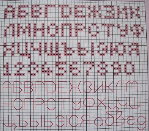Схемы алфавитных букв для вышивки и вязания.  Русские буквы. vyshivaem-vmeste.ru.  Ссылка.