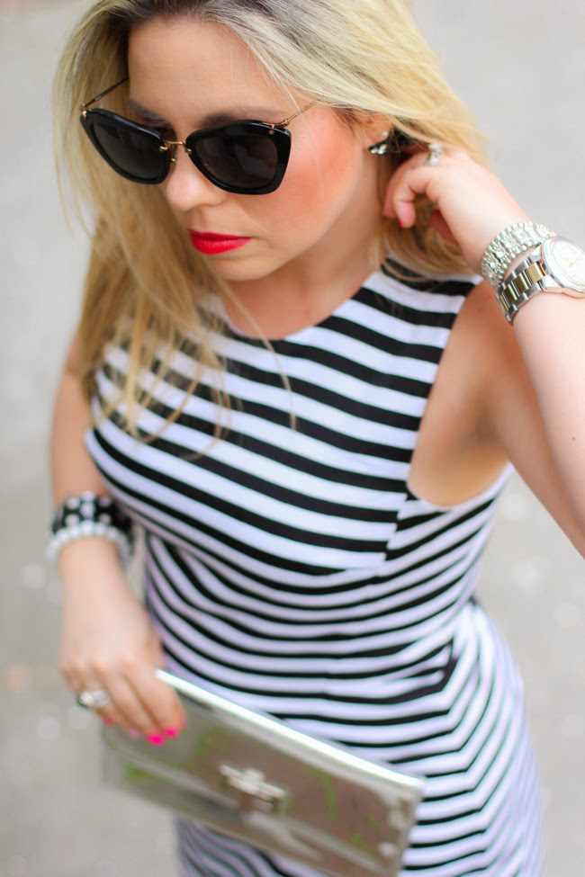 striped dress and miu miu catwalk sunglasses
