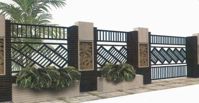 Model Pagar Rumah Minimalis Modern Besi dan Tembok
