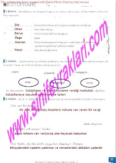 8.Sinif Turkce Enderun Yayinlari Calisma Kitabi Cevaplari Sayfa 31
