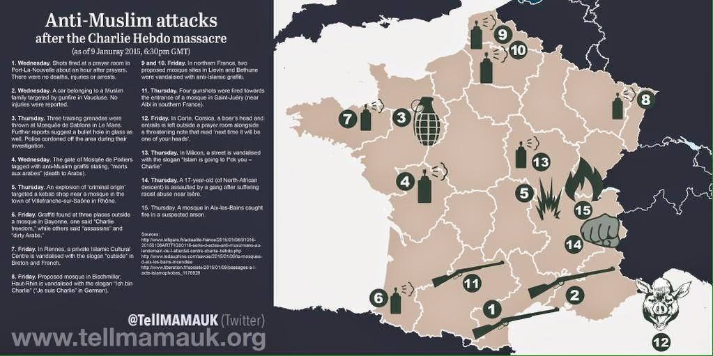 [Infografika] Antyislamskie zamachy po ataku na redakcję Charlie hebdo