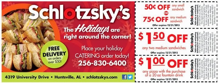 Schlotzsky's Deli December 2013 Coupons