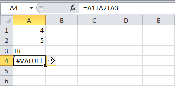 "Screenshot of a spreadsheet containing that has 1 field containing the text ""#VALUE!"""