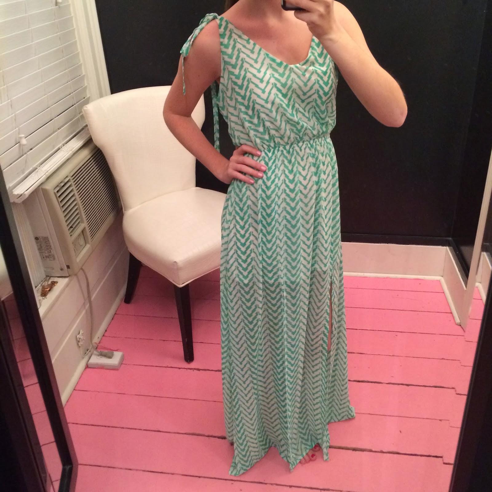 green spring chevron maxi dress