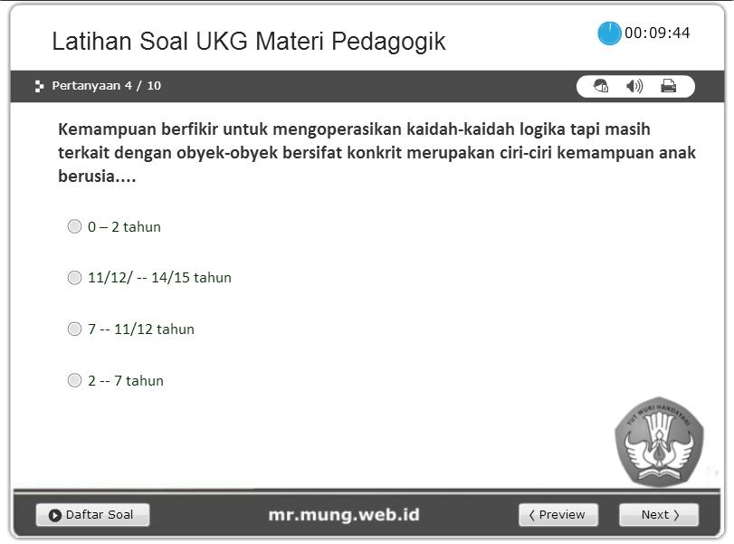 Latihan Soal Online Ukg Pedagogik Sd Smp Sma Smk Mr Mung Web Id