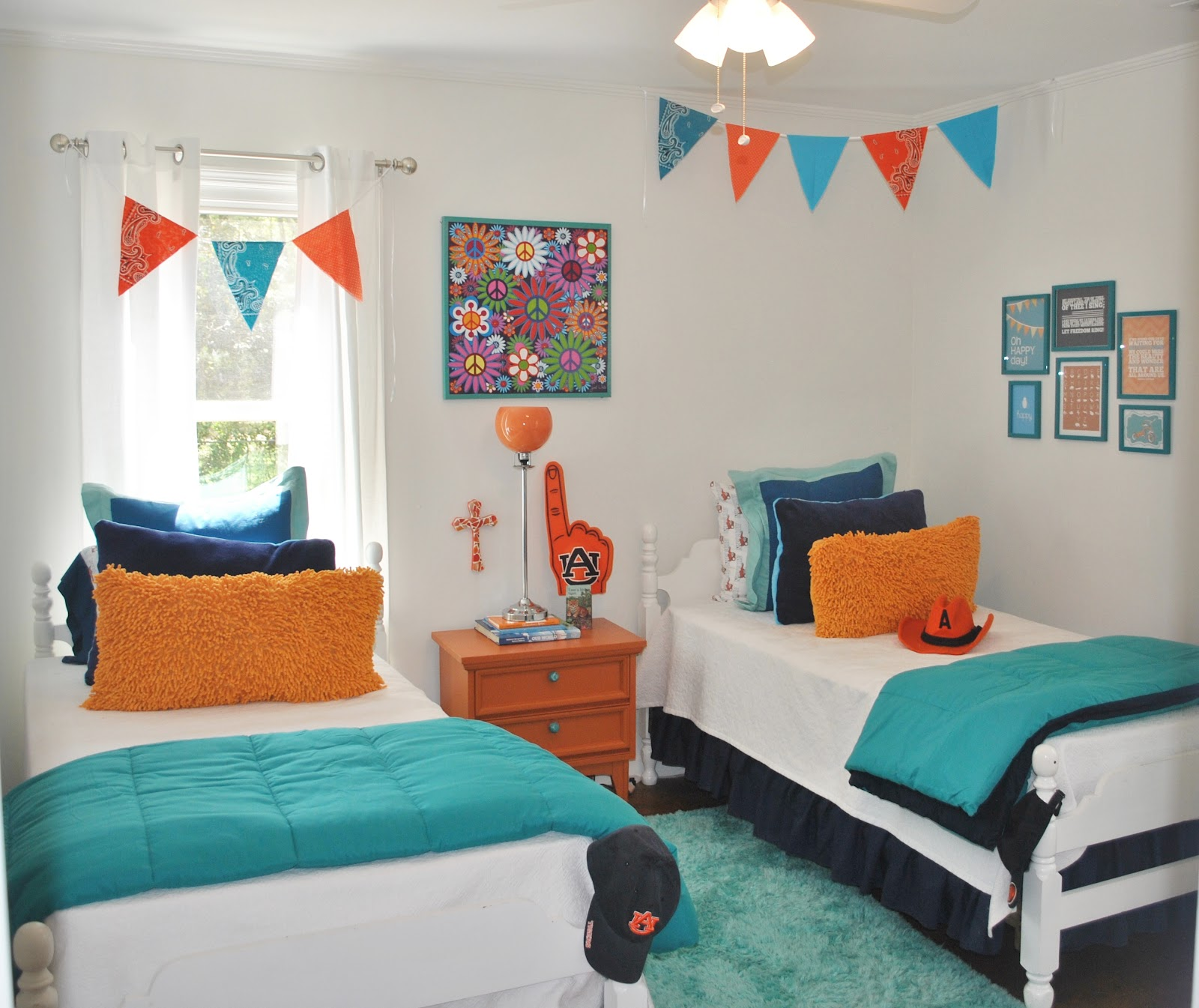 House tour orange blue on drake home stories a to z for Blue and orange room
