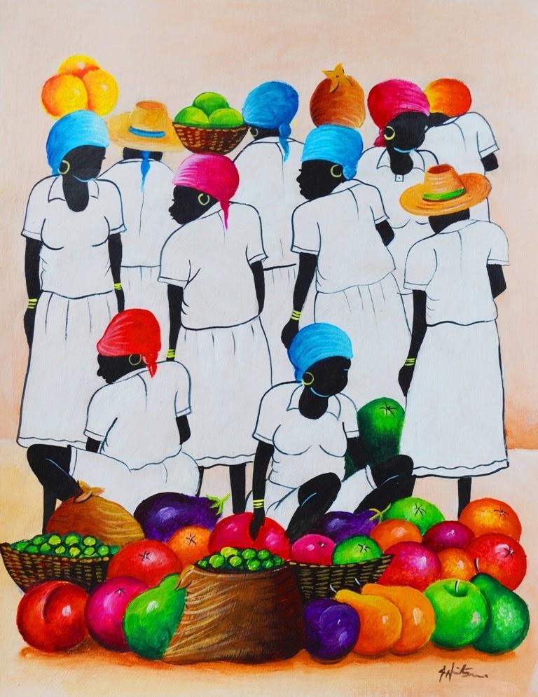 Las Negras Vendedoras De Frutas  Oleo Sobre Lienzo
