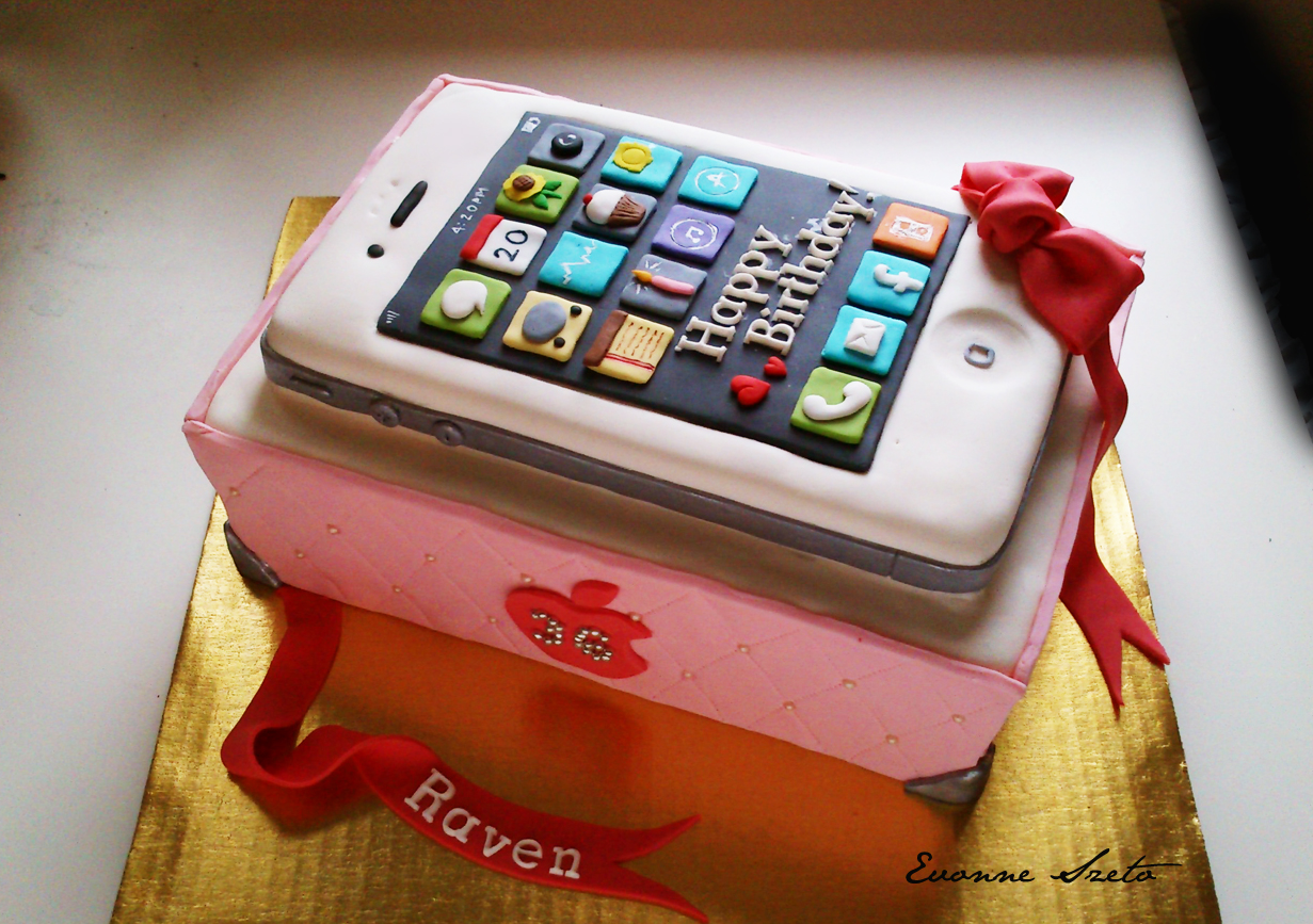 Sweet From The Heart Iphone Cake Mega Man Cake Lavender And Black