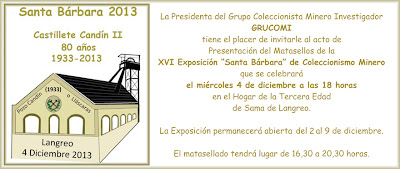 Invitación a la XVI Exposición Santa Bárbara de coleccionismo minero de Grucomi