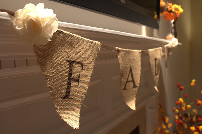 Fall Burlap Banner Mantle