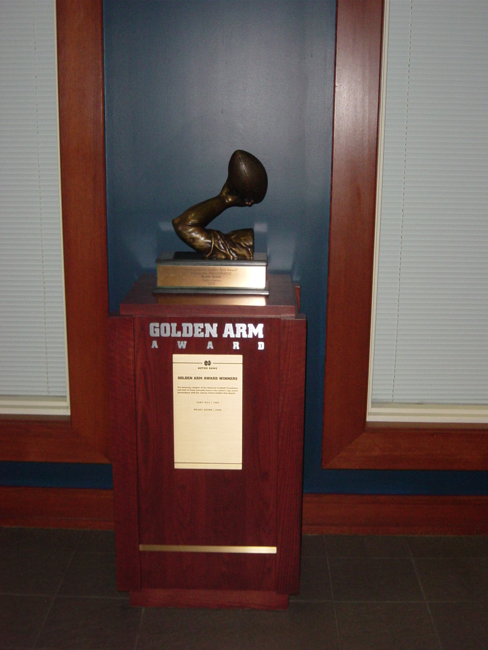 Golden Arm Trophy Notre Dame