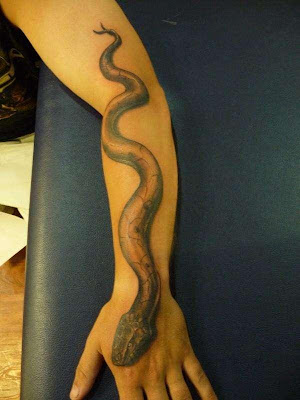 3D Snakes Tattoo on Forearms