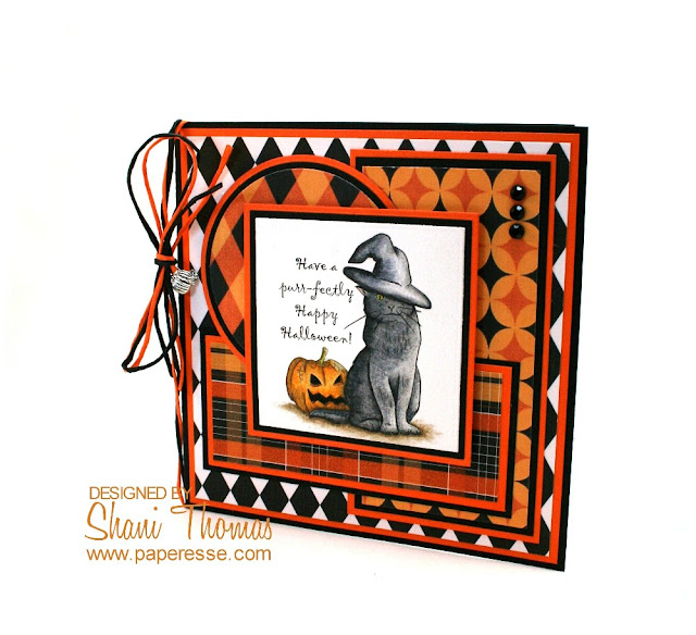 By Paperesse – a Halloween card created with free digital Opal Manor stamps, colored with Caran d'Ache Luminance 6901 pencils.