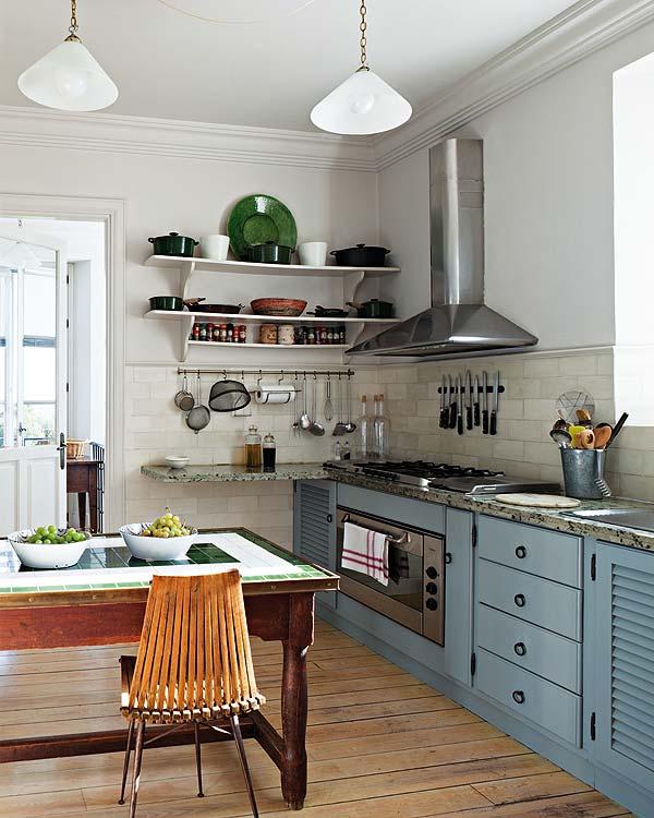 cocina , con decoración rustica chic