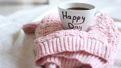 Happy Day Text on Coffee Cup Pink Berret HD Desktop Wallpaper
