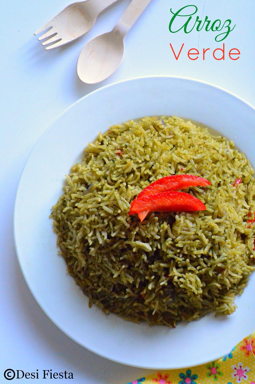 Desi Fiesta : Arroz Verde Recipe ( Green rice) | Doce de ...