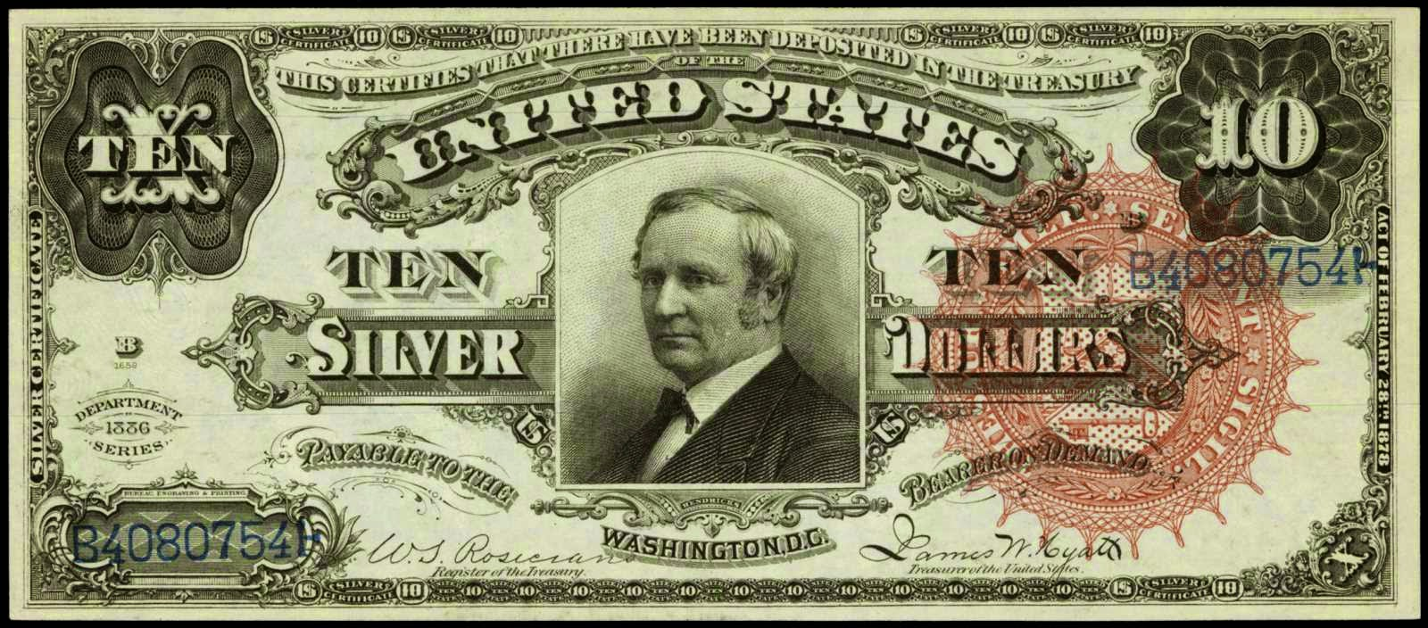 US currency 1886 Ten Dollar Silver Certificate Tombstone