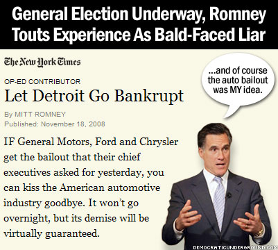 Romney manipulating car bailout