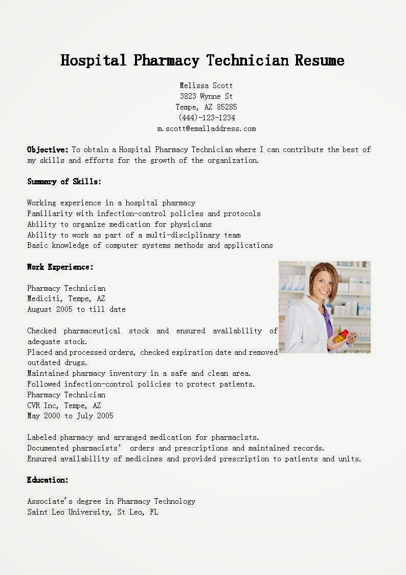 Resume Samples: Hospital Pharmacy Technician Resume Sample