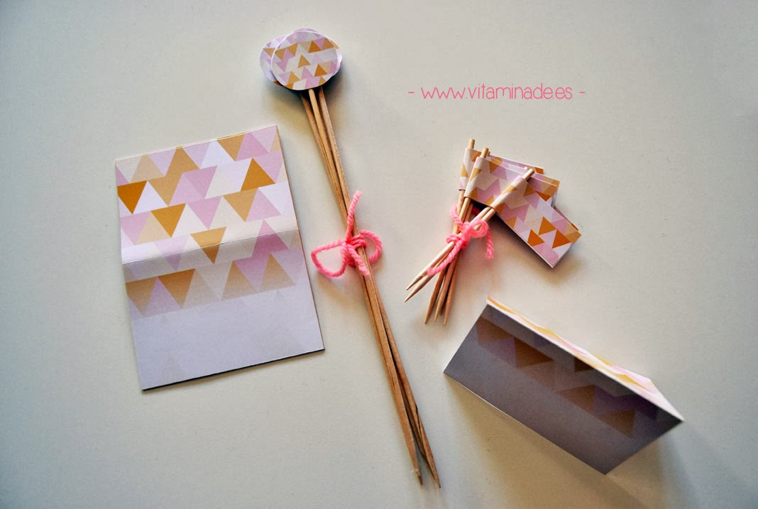 candy bar triangles en rosa y naranja