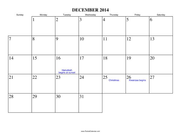 Calendars For The Month of December 2014 December 2014 Calendar
