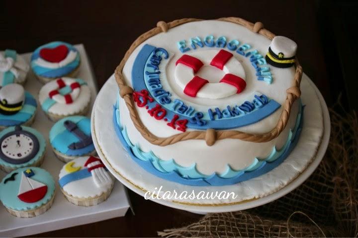 tempahan kek dan cupcake hantaran - nautical cake & cupcake