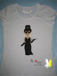 camiseta-customizada-decorada-fieltro-Audrey-Hepburn-aplicaiones-personalizado-regalos