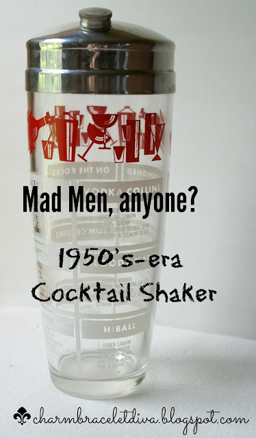 Vintage 1950's glass cocktail shaker with drink recipes