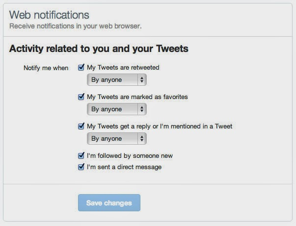 Twitter Web Notification Settings