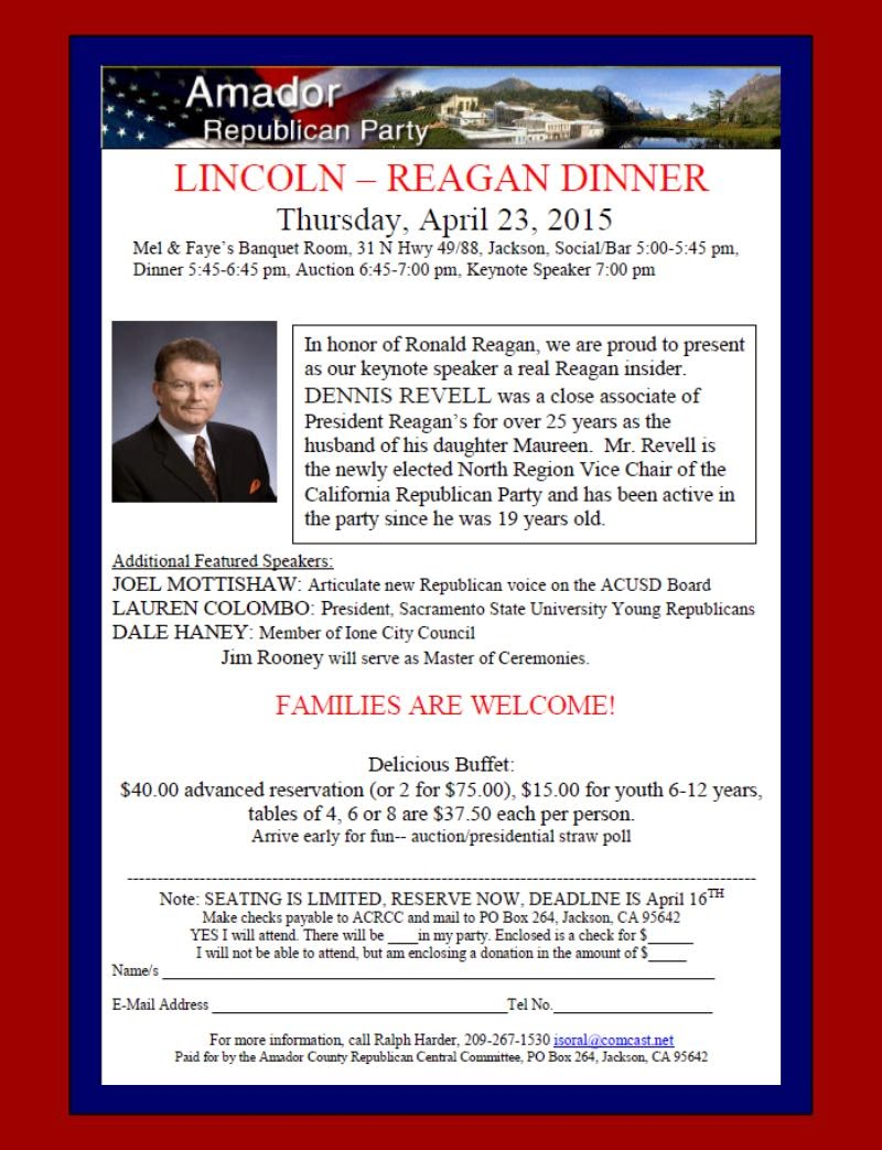 Amador GOP Lincoln-Reagan Dinner - Thurs Apr 23