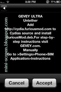 Gevey Ultra Untethered Jailbreak (Unlock) iPhone 4's iOS 4.3.5 Welcome Menu