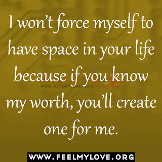 I won't force myself to have space in your life