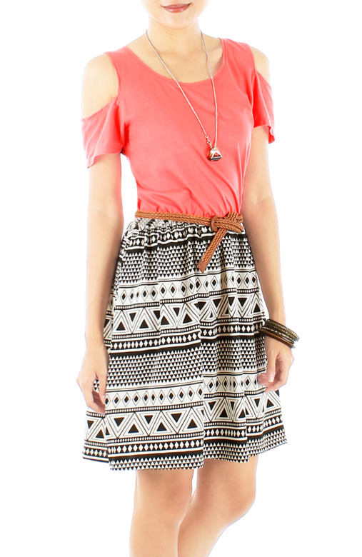 Peekaboo Shoulder Aztec Print Skirt Dress