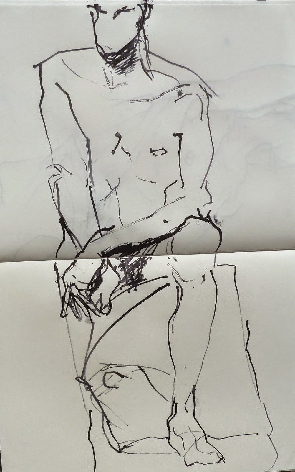 Actor sitting 2, ink and  twig drawing 2014