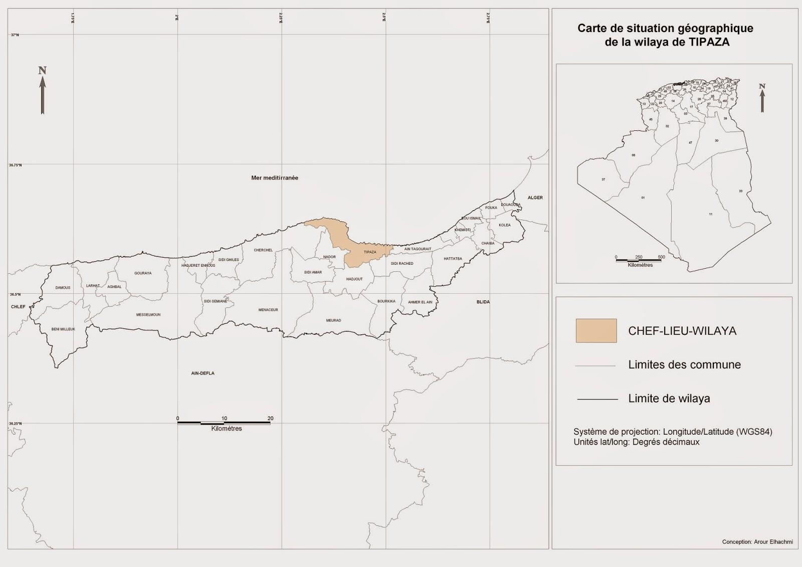 Carte Algerie Tipaza.Decoupage Administratif De L Algerie Monographie Carte De