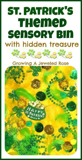St. Patrick's Themed Sensory Bin With Hidden Treasure. Click for more colorful #stpatrick sensory bins