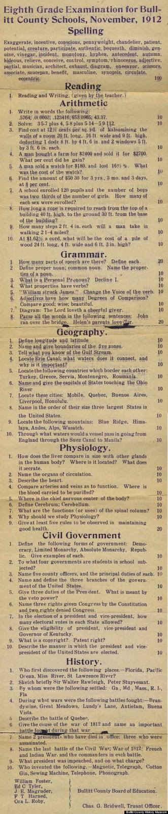 1912 eighth grade exam