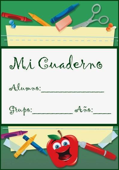 caratula para cuadernos de niños