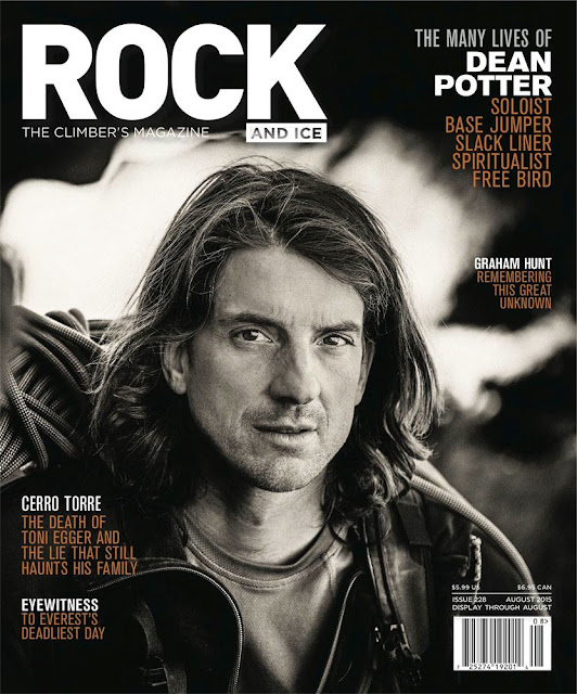 Rock and Ice magazine with Dean Potter on the cover. Issue 228 August 2015.
