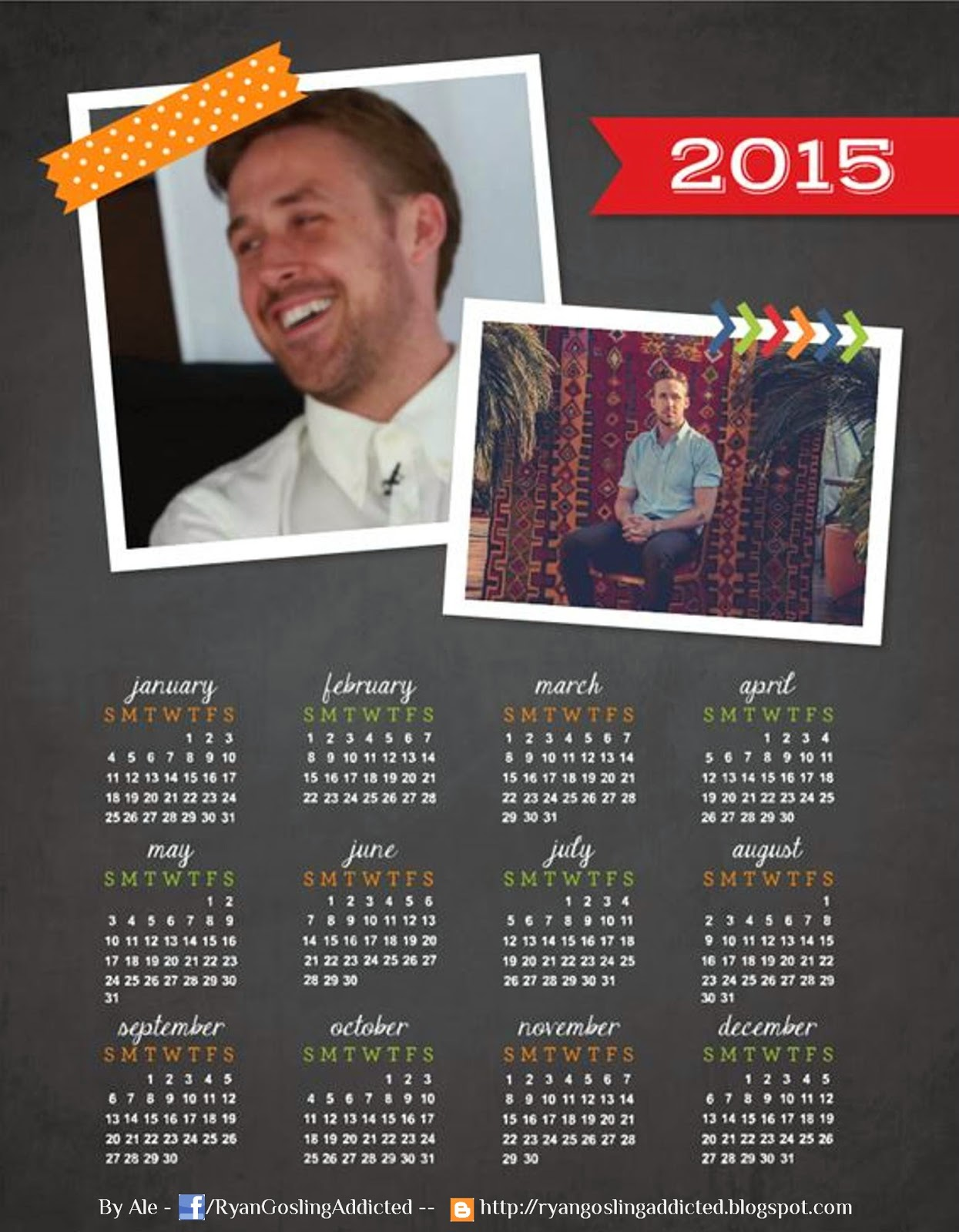Ryan Gosling Addicted - Yearly Calendar
