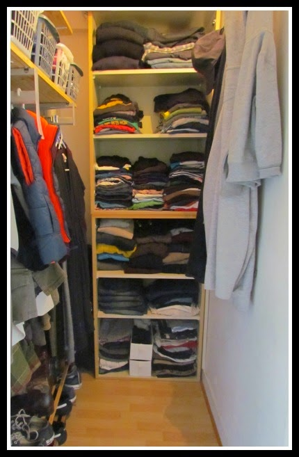 In a tiny closet, declutter first then adapt to the space.