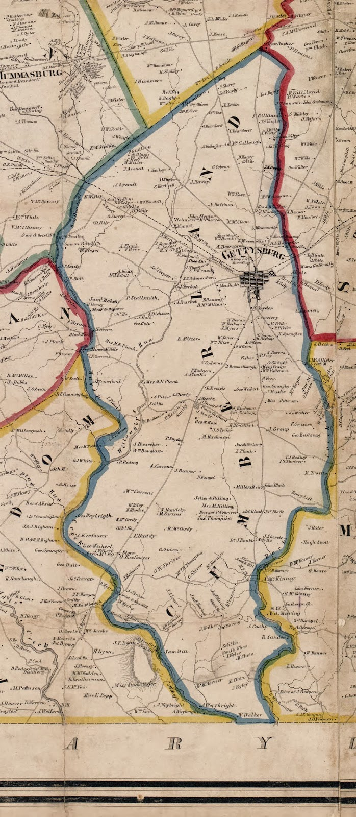 last year i found a lovely 1858 map of adams county pennsylvania that labeled the actual homes of landowner ancestors samuel hartzell and david heagy sr