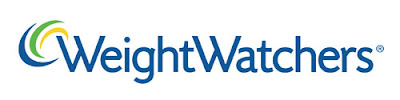 WeightWatchers logo, blue type, green-yellow-blue swoosh shape at top left corner of the first letter