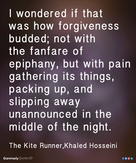 kite runner essays on forgiveness The kite runner: forgiveness, loyalty, and the quest for redemption khaled hosseini's the kite runner is an award-winning novel and considered one of today's most popular, contemporary classics.