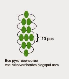 Лист. Схема плетения